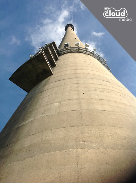 View from the foot of Emley Moor Mast