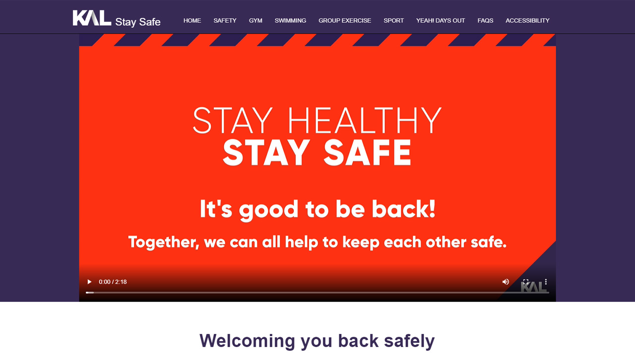 KAL Stay Safe - Kirklees Active Leisure Health and Fitness Support Website